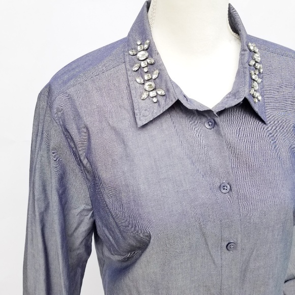 852c2798 Ann Taylor Tops - ANN TAYLOR Jewel Collar Chambray Button up Blouse